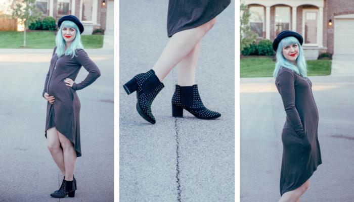 Dressing The Bump: Charcoal Grey Dress & Black Booties