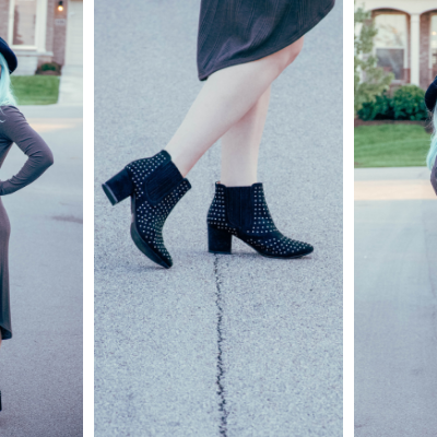 Dressing The Bump: Charcoal Grey Dress & Black Booties
