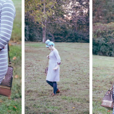 Dressing The Bump: Heather Grey Striped Plaid Cuff Maternity Midi Dress